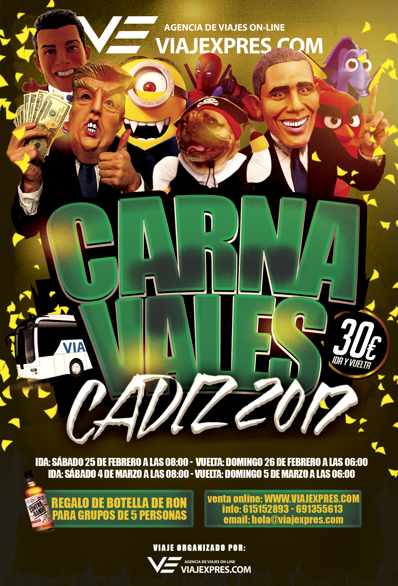 Autobús a Carnavales de Cádiz 2017