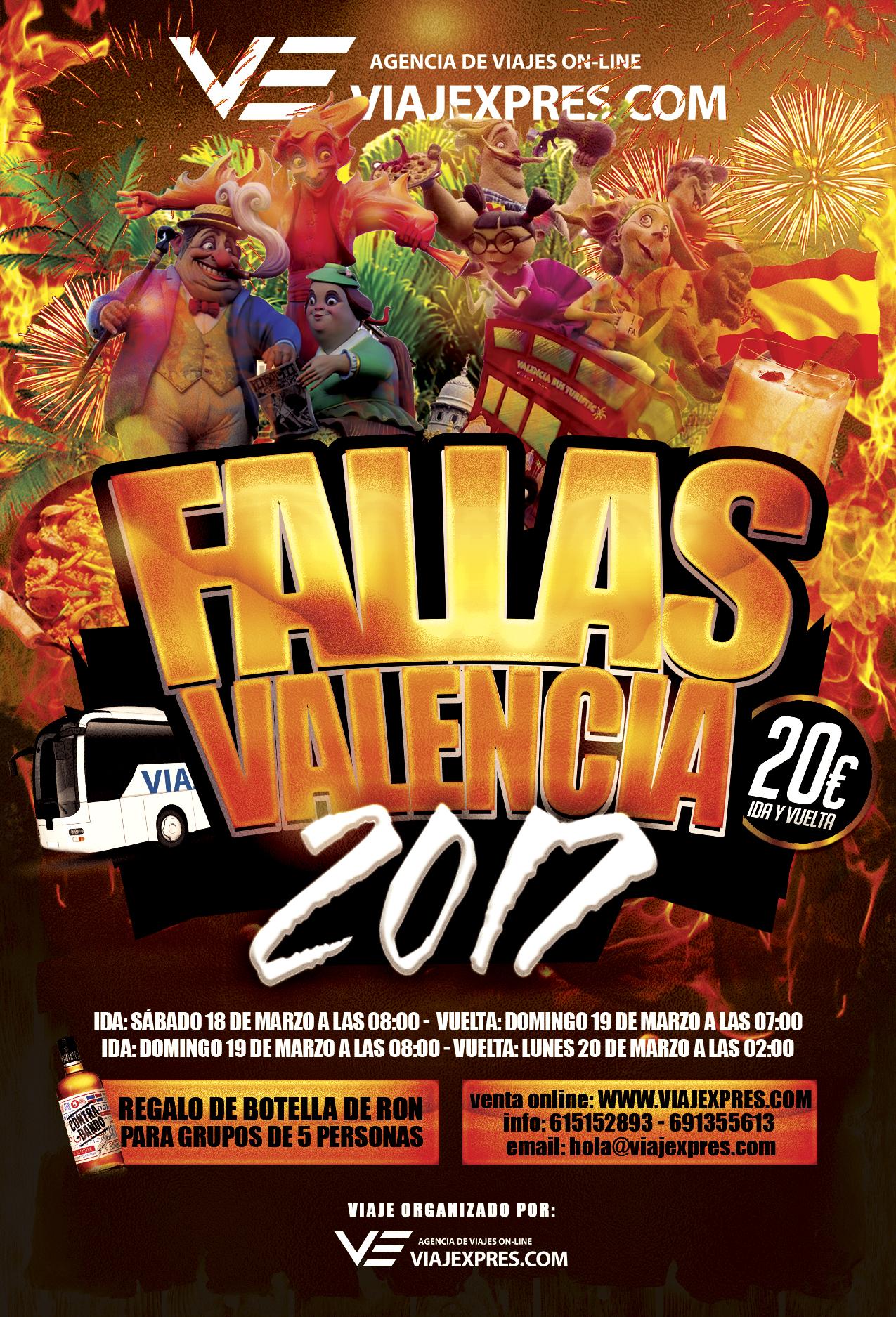 Autobús a Fallas de Valencia 2017